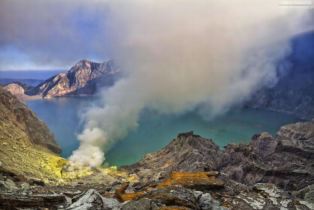 Photo in Landscape #kawah #ijen #crater #vulcano #lake #blue #sunset #fog #smoke #indonesia #java #jawa