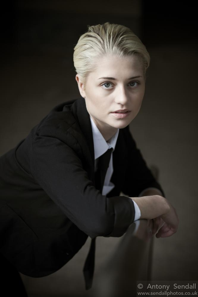Photo in Portrait #androgynous #androgyny #men's shirt #tie #stunning #gorgeous #beautiful #woman #blonde #slicked back hair #portrait #portraiture #artistic #natural light