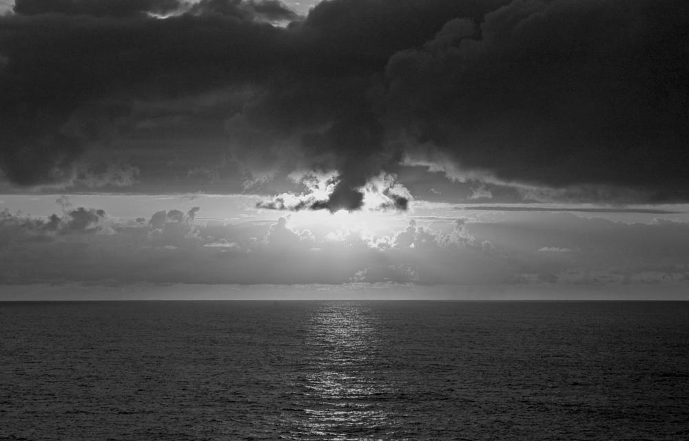 Photo in Sea and Sand #sunset #ocean #clouds #horizon #bw