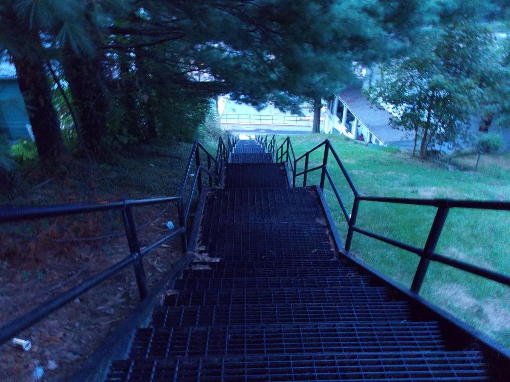 Photo in Landscape #staiecase #steps #steel #iron #down #dusk #railing