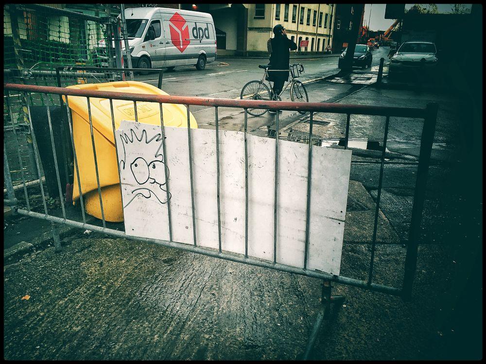 Photo in Street Photography #street #bart #simpsons #bristol #iphone #shadows #lights #vintage