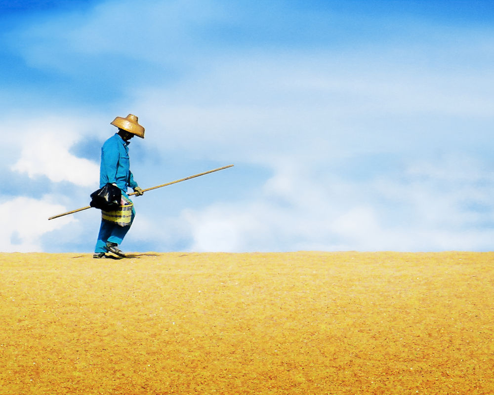 Photo in Portrait #color #rish #man #guy #people #walking #sand #blue #sky #hard #worker #yellow #hot