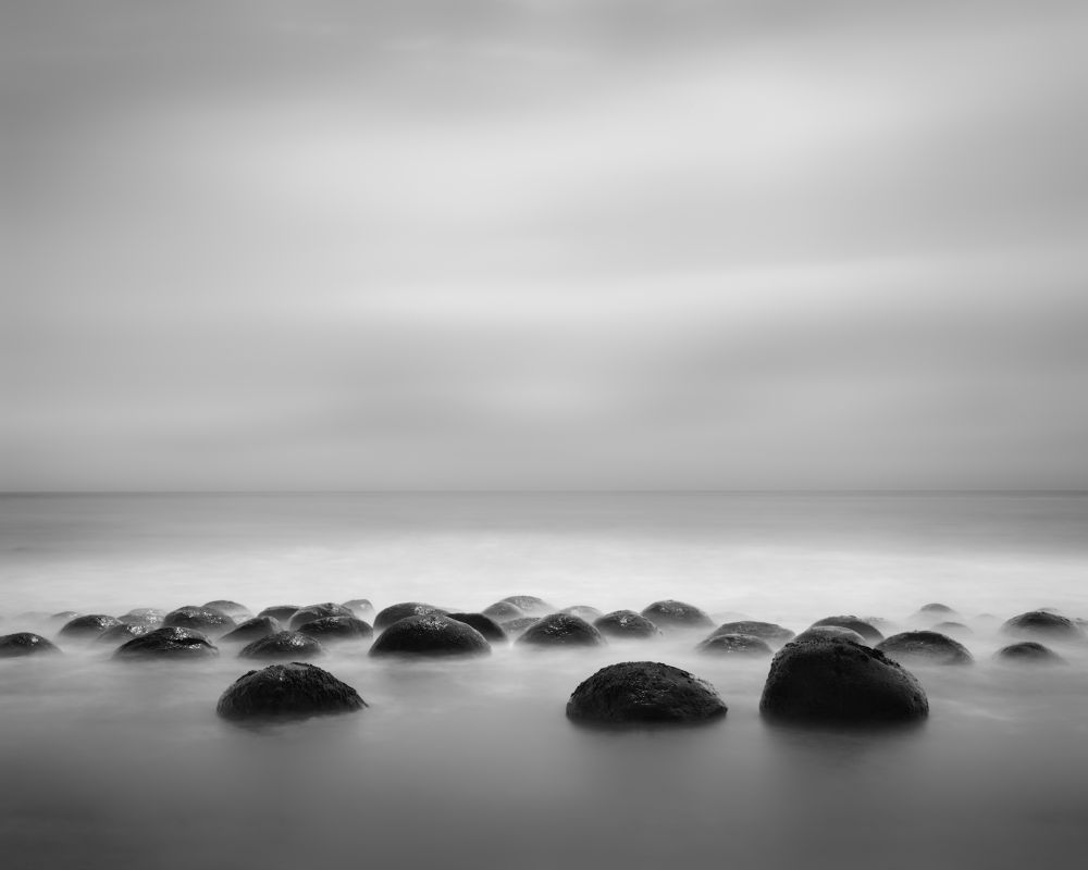 Photo in Black and White #bw #black and white #bowling #ball #balls #day #dark #light #water #caost #beach #waves #long #quiet #smooth