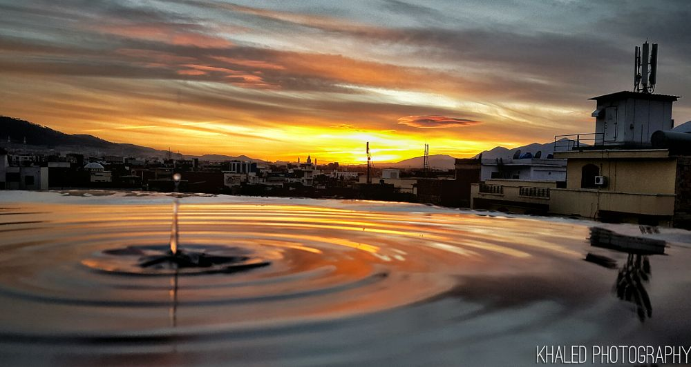 Photo in Abstract #sunset #drop #colors #clouds