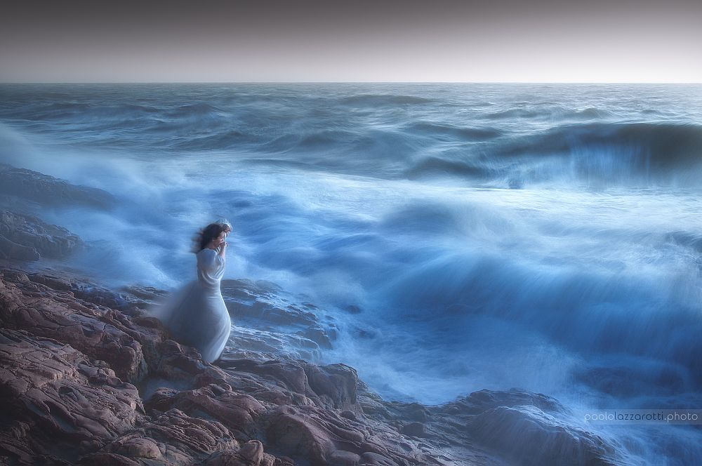 Photo in Landscape #girl #brave #wind #water #waves #rocks #storm #seascape #sunset #force #dynamic #contrast #sprays