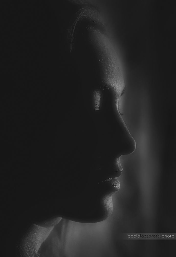 Photo in Black and White #girl #face #profile #dark #mouth #nose #black #subtle #sensual #deep