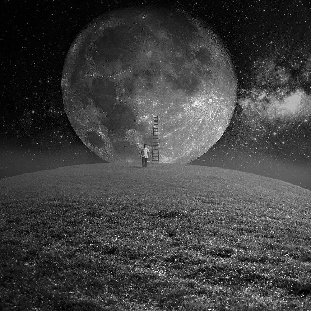 Photo in Abstract #man #moon #ladder #p;hotoshop #stars