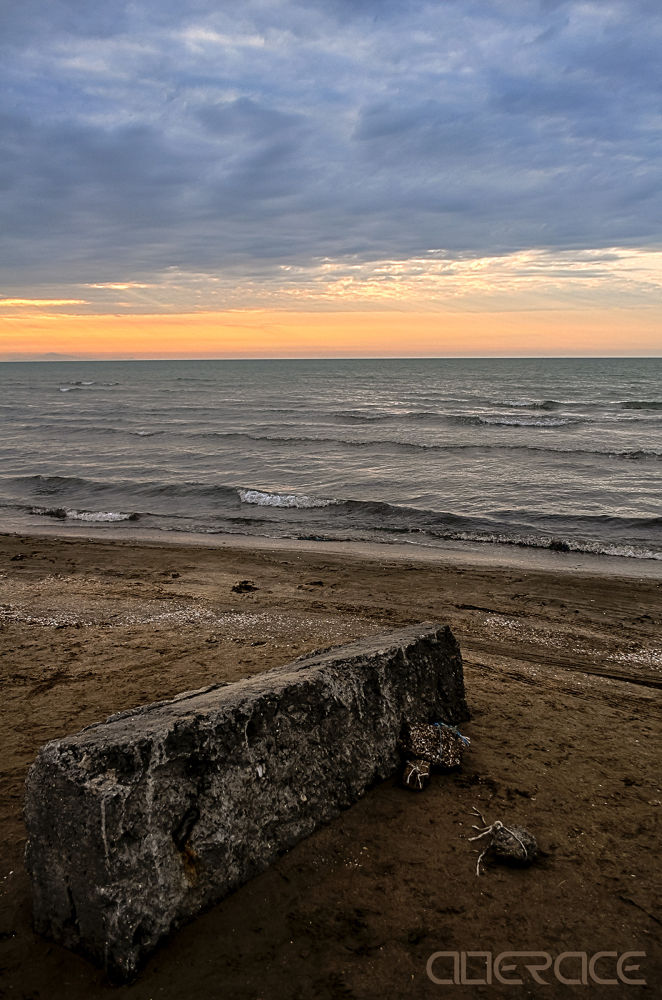 Photo in Sea and Sand #azerbaijan #lonely stone #stone #sea #caspian sea #sand