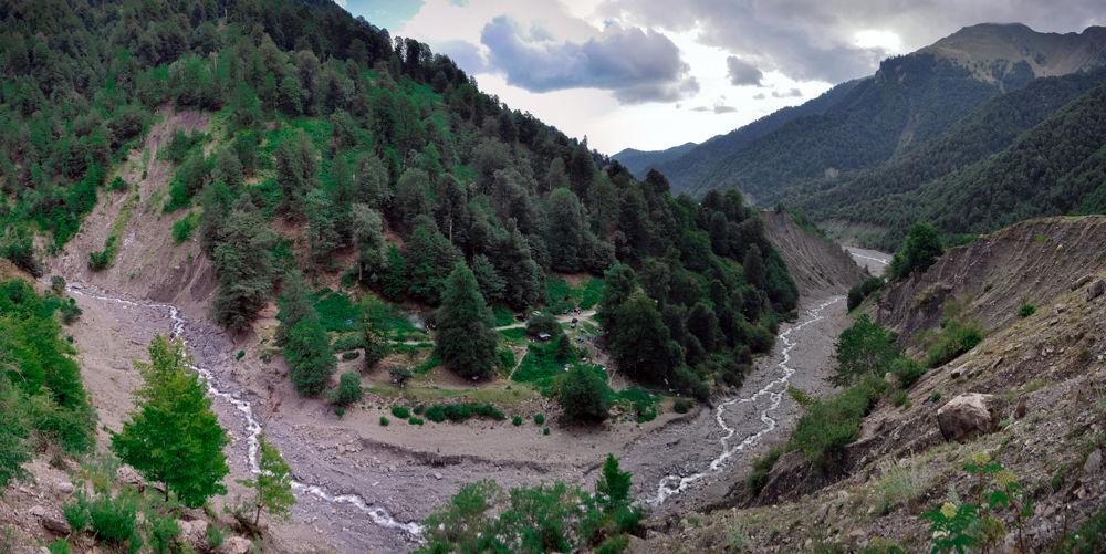 Photo in Nature #valley #pano #panorama #mountains #river #wild #nature #azerbaijan