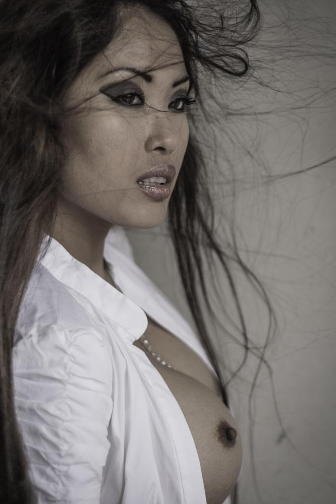 Photo in Nude #danika #flores #modeldk #rotterdam #nude #white #shirt #long #hair #breasts #nipple #relieved