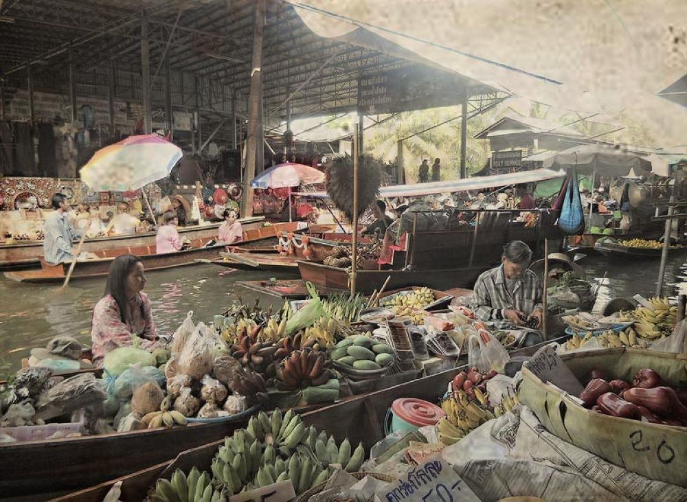 Photo in Random #thai #market #people #day #colors #river #fruits