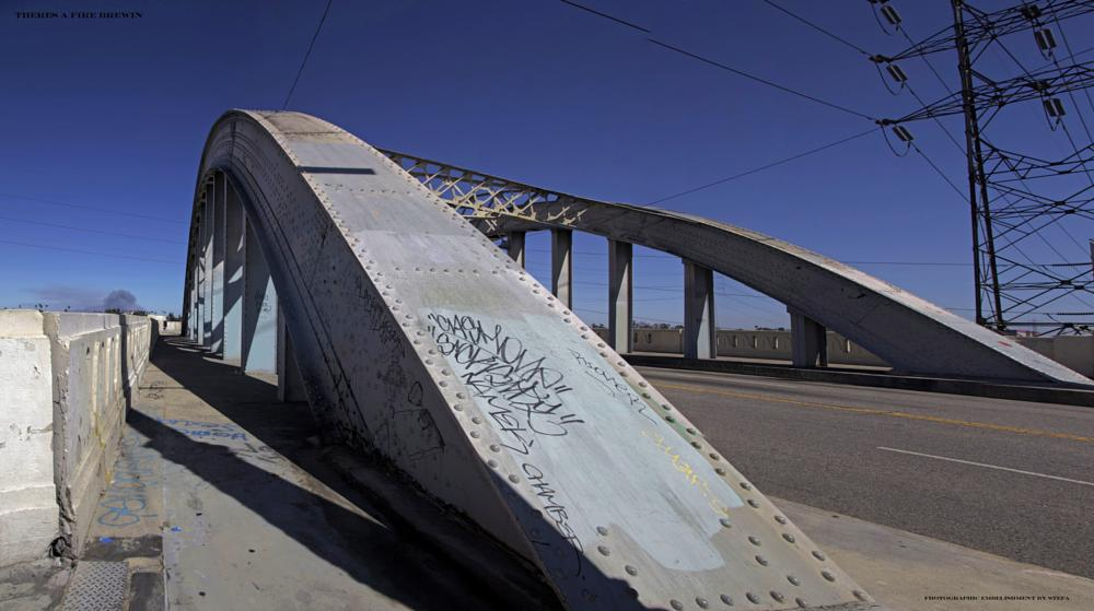 Photo in Architecture #bridge #wirldfire #steel #overpass #old #la #los angeles #ca #california #blue skies #fire