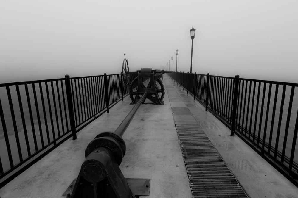 Photo in Random #dam #works #spillway #fog #black&white