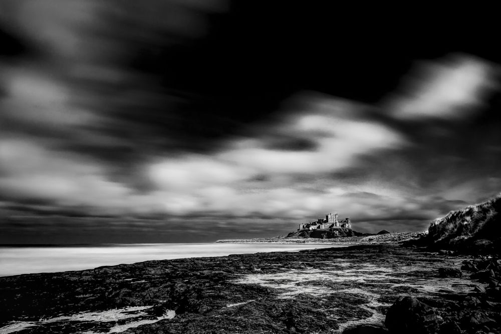 Photo in Random #bamburgh #bebbanburgh #great #black&white #castle #coast #dark #defend #formidable #grant #kasteel #lange sluitertijd #light #long exposure #medieval #nice #north humberland #position #sea #uther