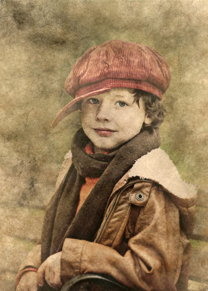 Photo in Fine Art #boy #male #young #kid #hat #leather jacket #cute