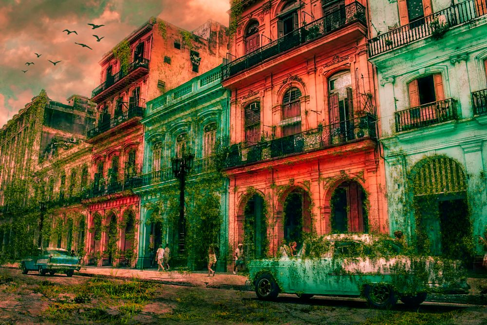 Photo in Abstract #scary #buildings #colorful #architecture #car #automobile #vehicle #people #overgrowed #surreal