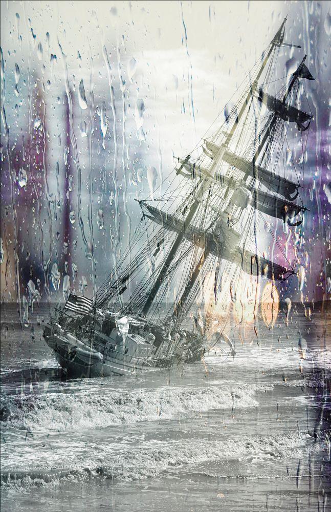 Photo in Random #sailing ship #ship #vessel #boat #ocean #water #weather #rain #storm