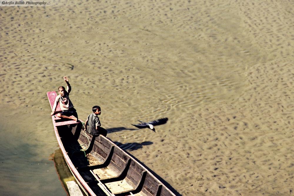 Photo in Nature #play #boat #water #river #child #bandarban #bangladesh