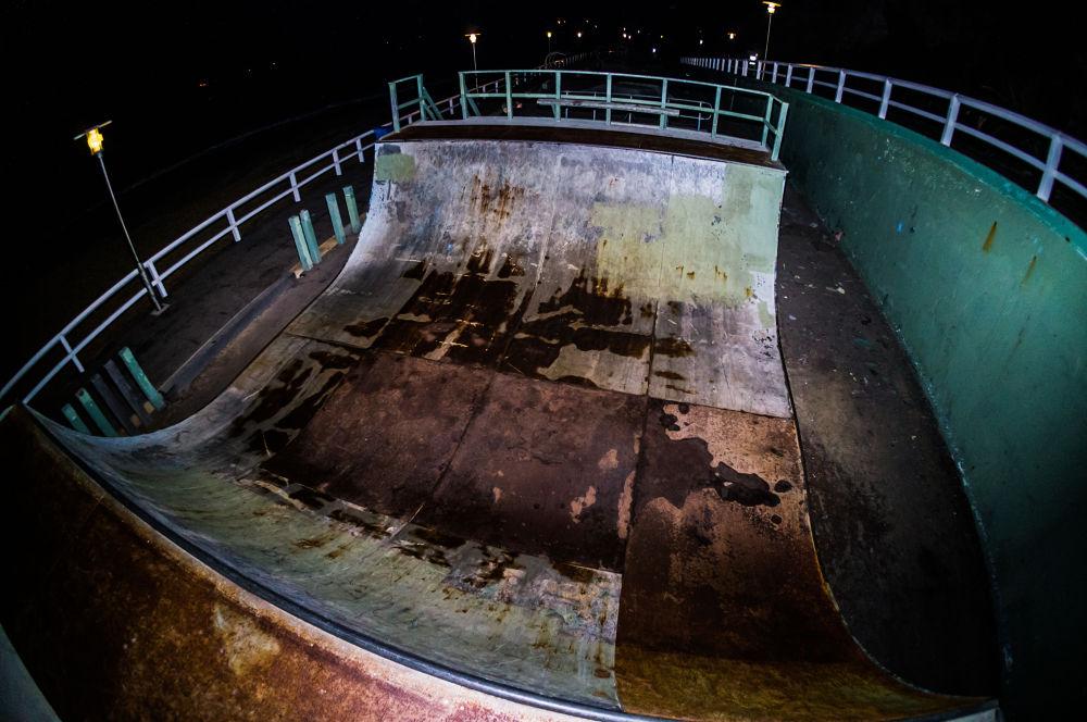 Photo in Street Photography #half pipe #skate #skate park #flash #australia #sony #nex 5n #night #fisheye #ramps #topdown