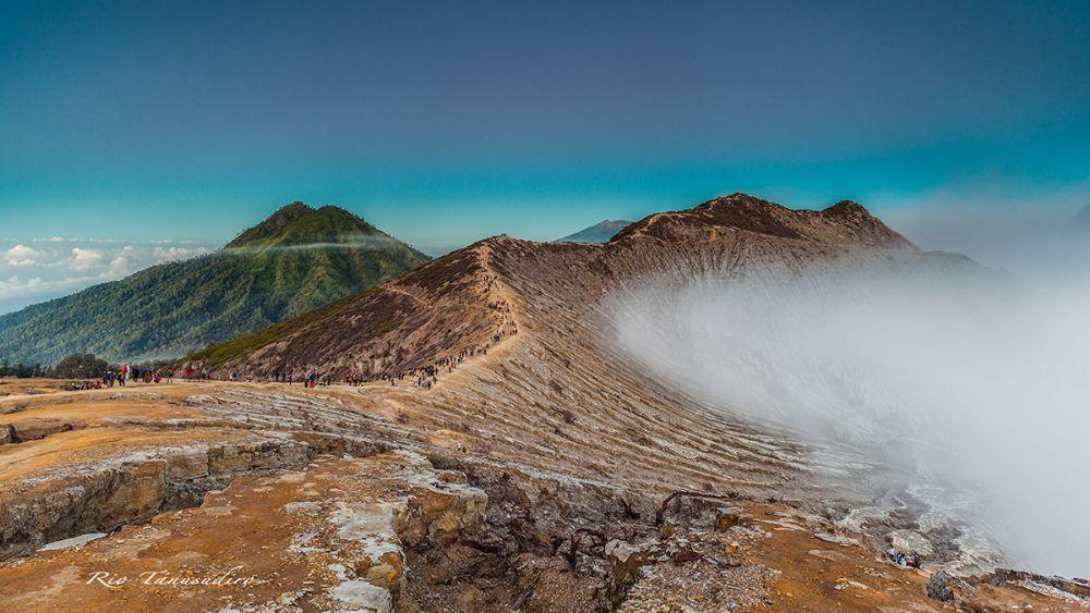 Photo in Landscape #mountain #crater #smoke #fog #clouds #top #ijen #landscape