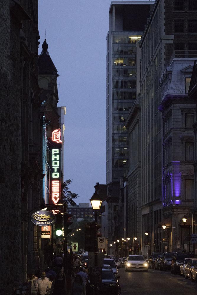 Photo in Urban #montreal #street scene #night #lights