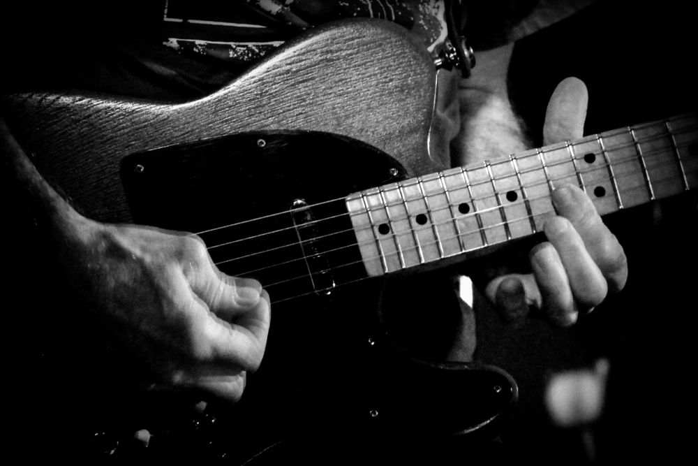 Photo in Concert #guitar #solo #bw #close #action