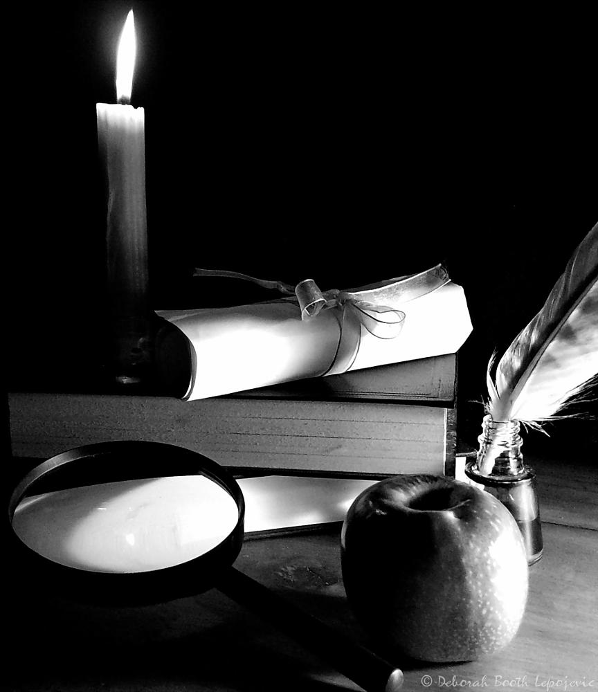 Photo in Still Life #still life #student #candle #light #wax #fire #flame #apple #fruit #eat #hungry #magnifying glass #see #read #book #books #information #study #scroll #paper #ribbon #feather #ink #ink pot #write #pentax #south africa