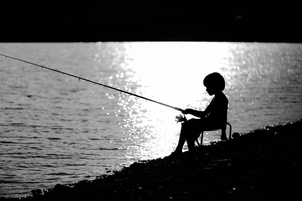 Photo in Random #ypa2013 #little #boy #fishong #fisherman #black&white