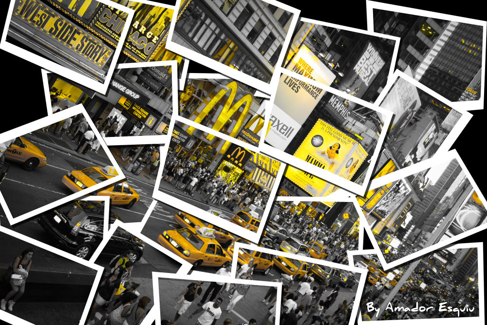 Photo in Cityscape #new york #nueva york #collage #yellow taxi #cabs #times square #manhattan #nyc #ny #amadoresquiu #amador esquiu #usa #ypa2013