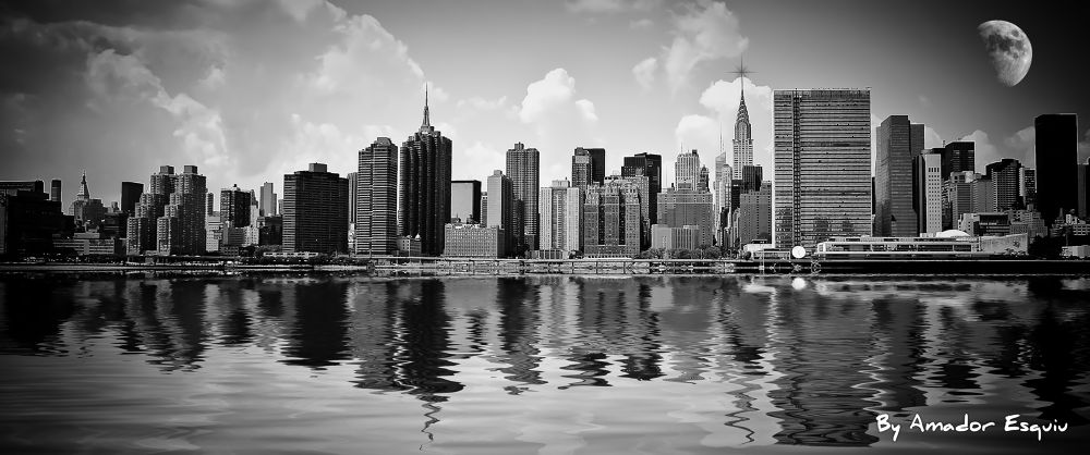 Photo in Landscape #new york #nueva york #nyc #ny #manhattan #usa #clouds #sky #moon #empire state #chrystler #b&w #black and white #amador esquiu #amadoresquiu #ypa2013