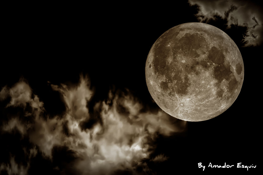 Photo in Black and White #moon #full moon #clouds #b&w #black and white #amador esquiu #amadoresquiu #ypa2013