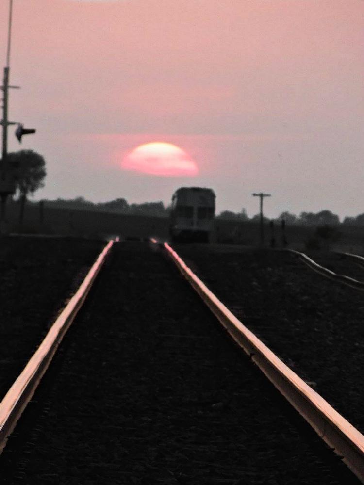 Photo in Random #sunset #railroad tracks