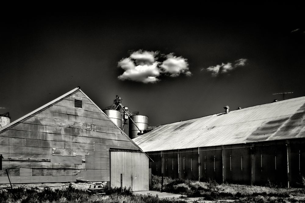 Photo in Black and White #agricultural #texas #panhandle #metal #warehouse #afternoon