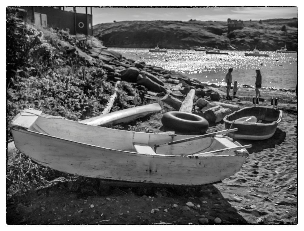 Photo in Black and White #beach #waterfront #black and white #maine #new england #shorefront #boat #monochrome #monhegan island #island