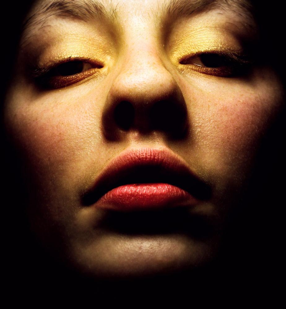 Photo in Portrait #self #portrait #selfportrait #me #amber #light #lips #closeup #face #girl #feminine #denmark #shot #nikon #d #5000 #yellow #glow #scene