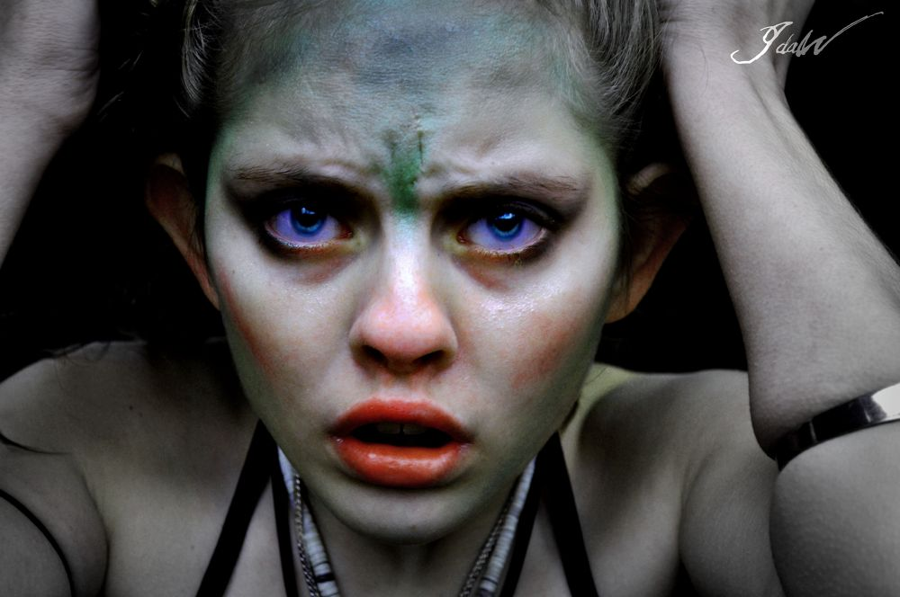 Photo in Random #me #afraid #scared #elf #human #creature #face #depht #forrest #avatar #blue #eyes #fear #fight #war #baby #lips #big