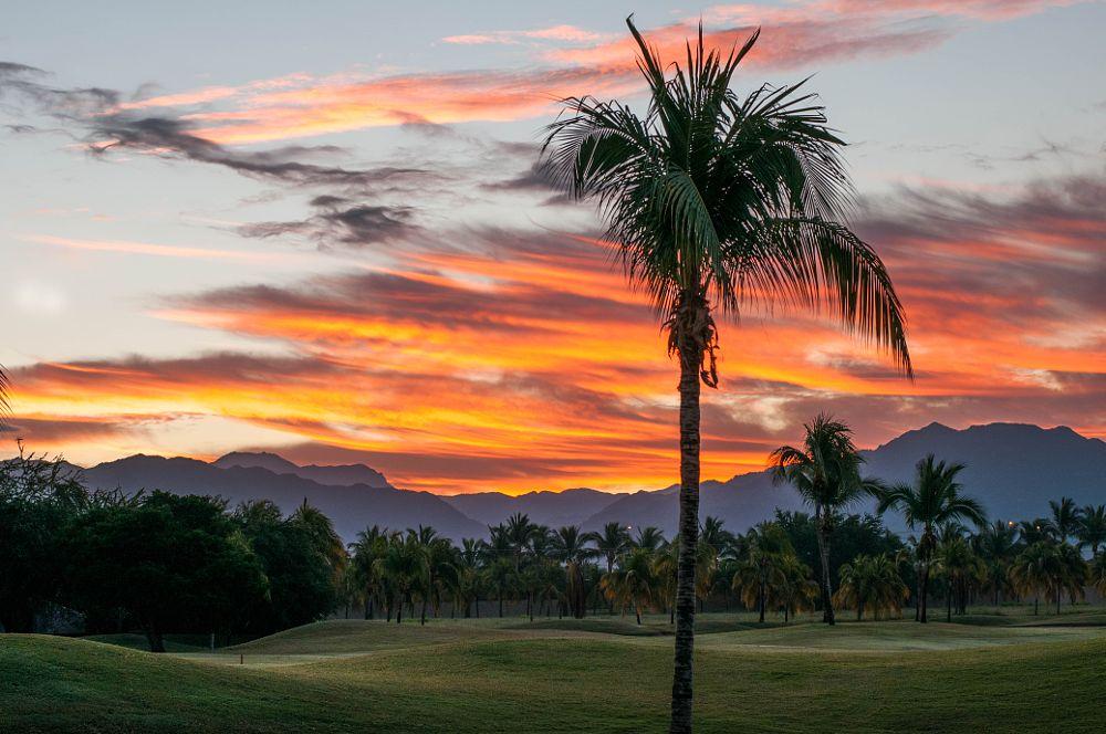 Photo in Landscape #landscape #nuevo vallarta #sunrise #mountains #golf course #mexico