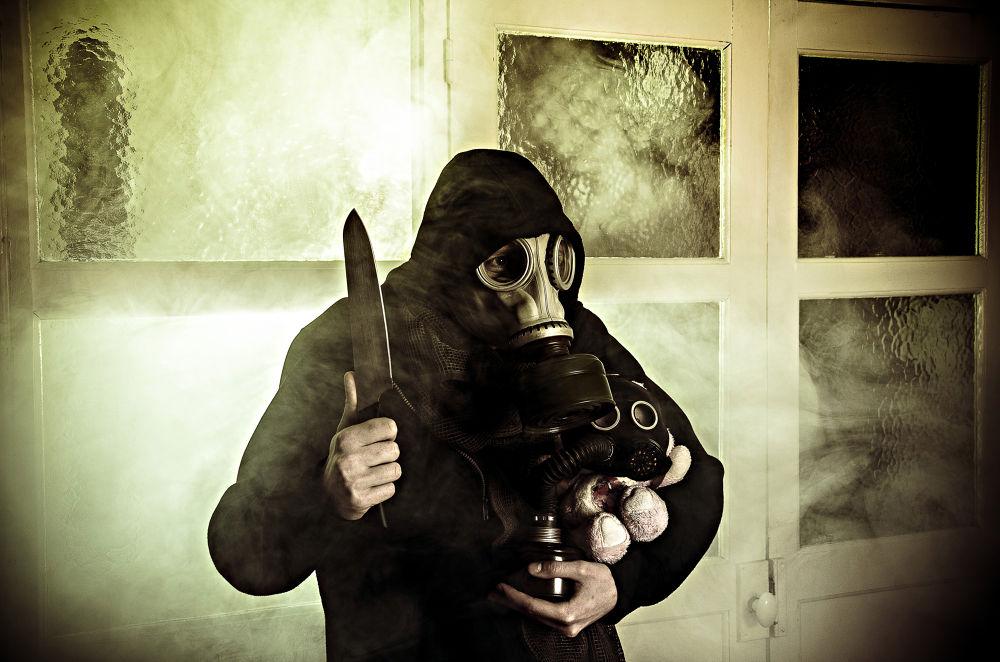 Photo in Fine Art #gas mask #gas #knife