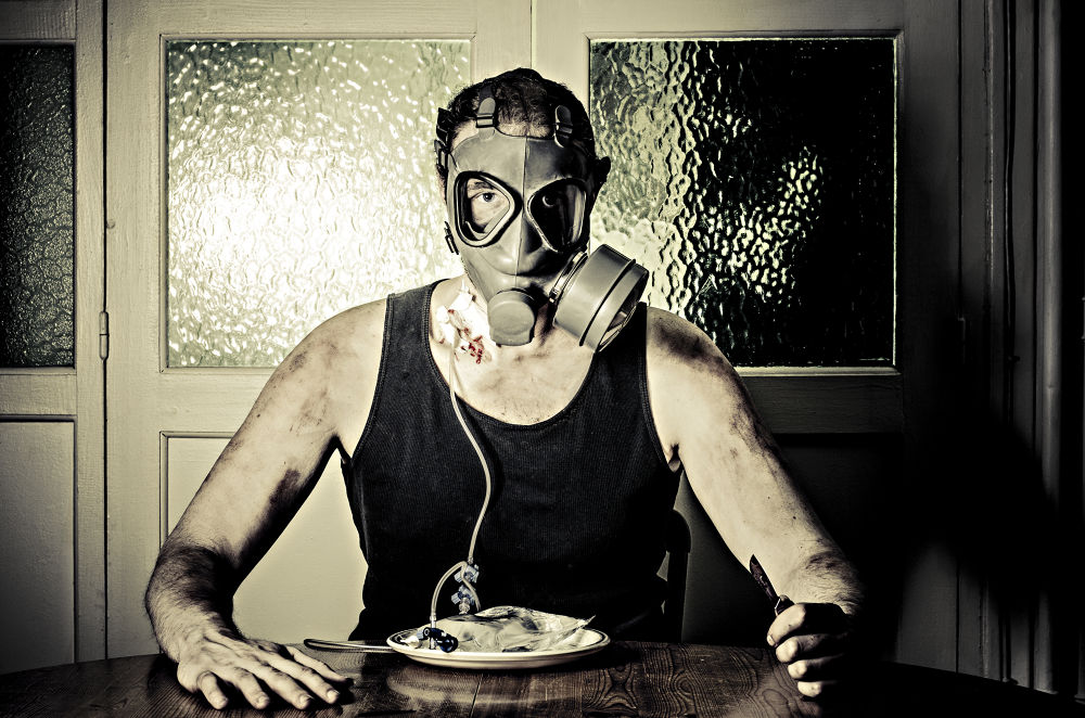 Photo in Fine Art #post-apocalyptic #snack #scalpel #infusion #gas mask