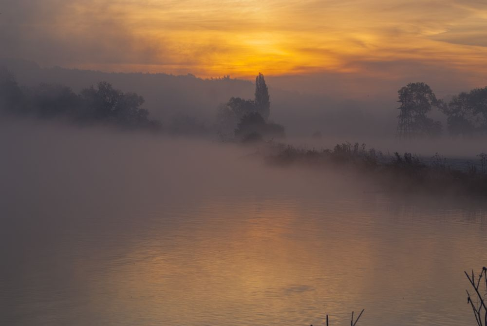 Photo in Landscape #sunrise #red sky #misty #landscape #river thames