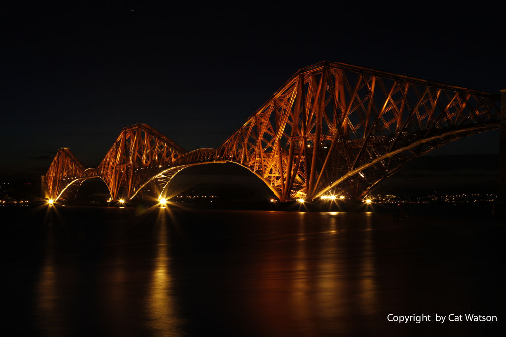 Photo in Travel #night shot #scotland #forth rail bridge #edinburgh #trains #moody