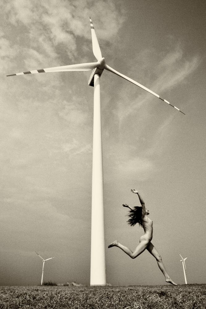 Photo in Nude #woman #wind #body #nude #fine art #monochrome #black&white