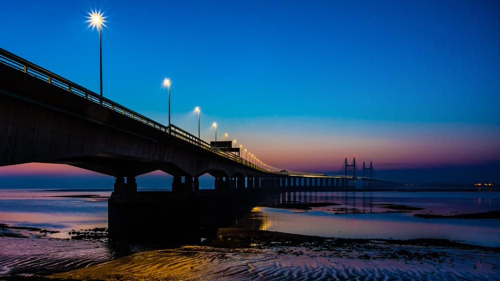 Photo in Cityscape #bridge #river severn #dusk #m4 motorway