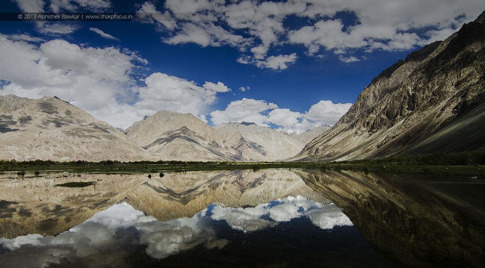 Photo in Landscape #ypa2013 #landscape #reflections #reflection #ladakh #blues #clouds #water #india #nikon #tokina