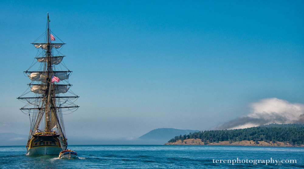 Photo in Sea and Sand #lady washington #stuart island #sailing ship #clouds #san juan islands #terenphoto.com