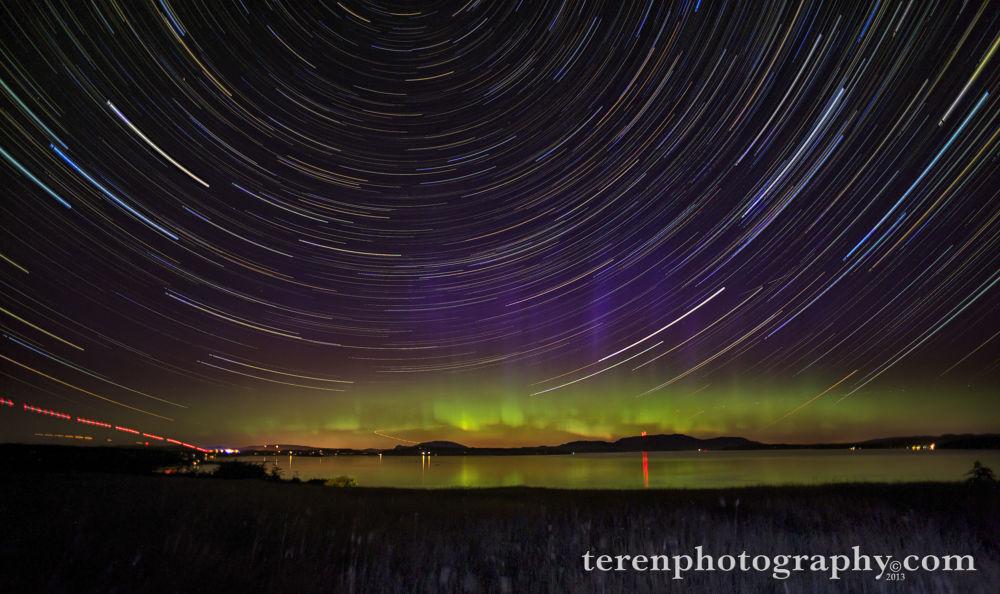 Photo in Astrophotography #northern lights #star trails #aurora borealis #star circles #san juan islands #friday harbor #orcas island