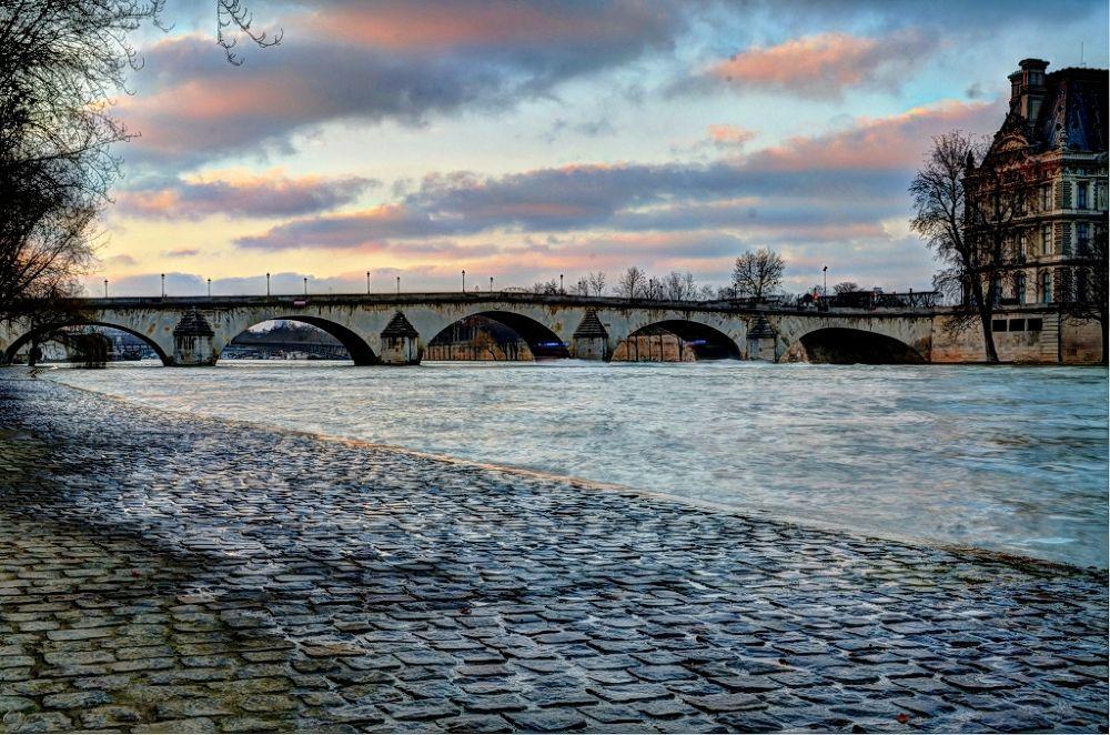 Photo in HDRI #seine #paris #hdr #bridge #pont #louvre #sky