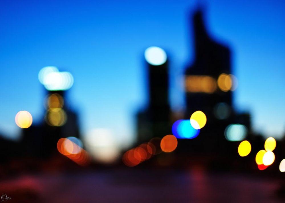 Photo in Abstract #bokeh #night #light #la défense #blue
