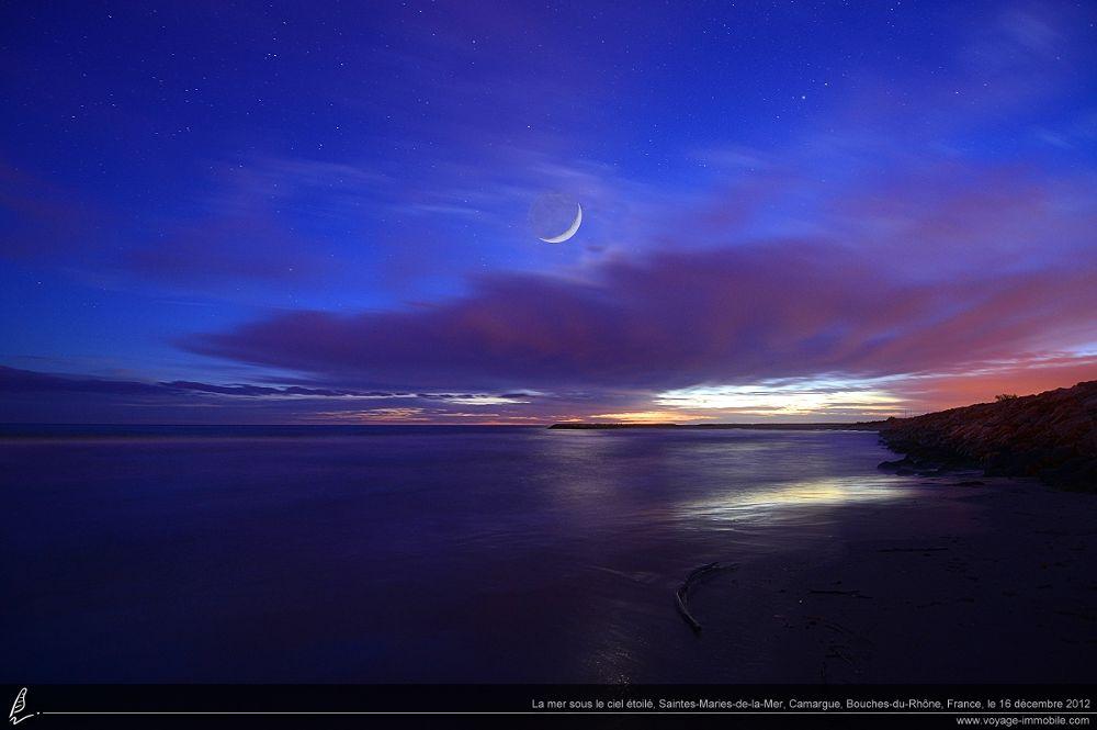 Photo in Random #lune #nocturne #étoiles #mer #saintes-maries-de-la-mer #camargue #plage #moon #night #stars #sea