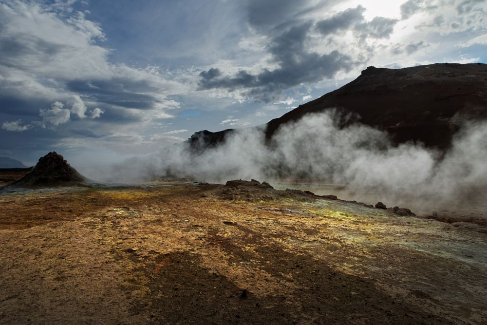 Photo in Landscape #hverir #krafla #iceland #landscape #voclano #crater #caldera #geothermal #mudpools #fumaroles #steam #vapor #sulfur #hell #beauty